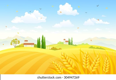 Vector illustration of a beautiful autumn scene with wheat fields