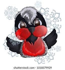 Vector illustration with beautiful baby bullfinch with falling snowflakes