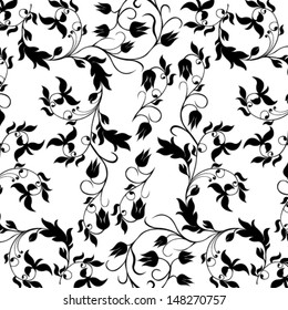 Vector illustration of beautiful black seamless floral pattern on white background