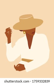 Vector illustration of beautiful black skin woman in a hat. Modern printable fashion poster.