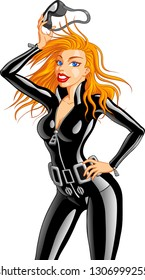 Vector illustration of a beautiful blonde woman wearing black scuba wetsuit and diving gear.