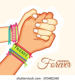 Vector illustration beautiful card for friendship day with holding promise hand. vector illustration