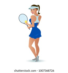 Vector illustration beautiful cartoon woman tennis player. Isolated white background. Sports girl with a racket and a ball for tennis.