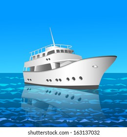 vector illustration of a beautiful cruise yacht drifting peacefully on the sea