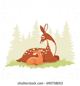 Vector illustration of beautiful and cute cartoon deers. New born Fawn with Mom. Character animal. Children's illustration