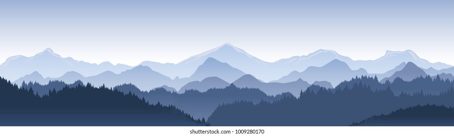 Vector illustration of beautiful dark blue mountain landscape with fog and forest. sunrise and sunset in mountains.