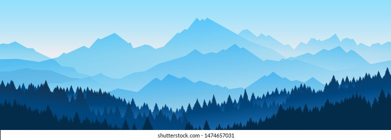 Vector illustration of beautiful dark blue mountain landscape with fog and forest. sunrise and sunset in mountains