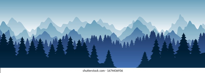 Vector illustration of beautiful dark blue mountain landscape with fog and forest. sunrise and sunset in mountains. Travel concept. Nature landscape. Vector isolated illustration