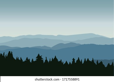Vector Illustration of beautiful Dark Blue Mountain landscape. Sunrise and Sunset in mountains.