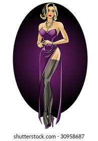 vector illustration of a beautiful debutante....for more pinups, please see my port!!
