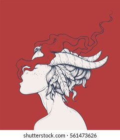 Vector illustration of a beautiful demon girl with feathers in her hair. Smoking enigmatic young woman with horns and tribal hairstyle. Sexy female portrait side view sketch style vector art.