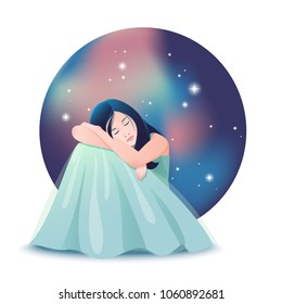 Vector illustration of beautiful dreaming girl in long dress on the background of night sky with stars.