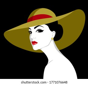 Vector illustration of beautiful elegant woman with naked shoulders wearing big hat with red bow against black background