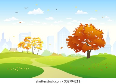 Vector illustration of a beautiful fall city park with bright foliage trees