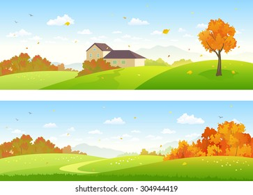 Vector illustration of beautiful fall panoramic landscapes with a house and woods
