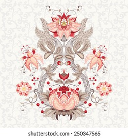 Vector illustration. Beautiful fantastic flower with leaves, tendrils and berries. Delicate seamless background. Motives of the paintings of vintage Indian fabrics. Tree of Life collection.