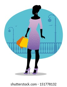 Vector illustration of Beautiful fashion woman with bags - Shutterstock ID 151778132
