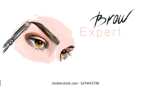 Vector illustration. Beautiful female eyes and eyebrows. Eyebrow Master. Coloring and correction of eyebrows. Beauty, personal care industry. Suitable for printing and printing on fabric.