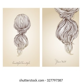 Vector illustration of  beautiful female hairstyle. View from the back. Collected hair in a stylish ponytail.