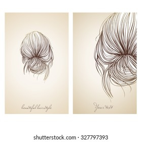 Vector illustration of  beautiful female hairstyle. View from the back. Collected hair in a stylish bun.