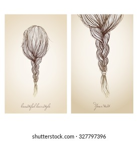 Vector illustration of  beautiful female hairstyle. View from the back. Hair gathered into a sloppy braid.