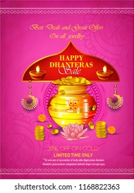 Vector illustration of Beautiful Festival  for Shubh Dhanteras celebration jewellery Sale promotion