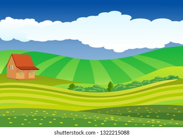 Vector illustration of beautiful fields, meadows landscape with a house, green hills, clouds, blue sky,