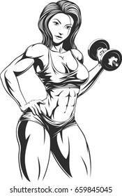 Vector illustration: beautiful fitness girl doing exercises with dumbbells