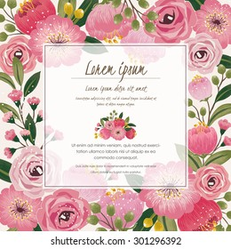 Vector illustration of a beautiful floral border with spring flowers for invitations and birthday cards