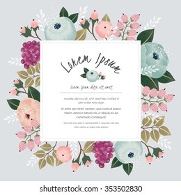 Vector illustration of a beautiful floral border with flowers for wedding invitations and birthday cards