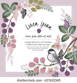 Vector illustration of a beautiful floral border with a bird in spring for Wedding, anniversary, birthday and party. Design for banner, poster, card, invitation and scrapbook