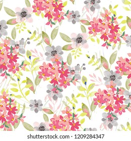 Vector illustration of a beautiful floral bouquet.  watercolor floral pattern, Ditsy floral background. Liberty style. fabric, covers, manufacturing, wallpapers, print, gift wrap.