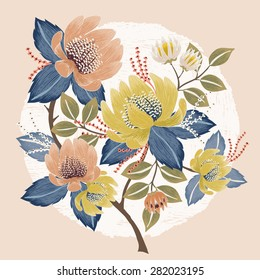 Vector illustration of a beautiful floral bouquet with spring flowers. Yellow and baby pink flowers.