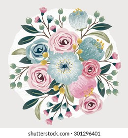Vector illustration of a beautiful floral bouquet with spring flowers for invitations and birthday cards