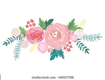 Vector illustration of a beautiful floral bouquet with flowers for wedding invitations and birthday cards