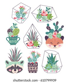 A vector illustration of beautiful floral bouquets with succulents and cactuses with inky texture in funny flower pots and glass terrariums. Trendy tropical design for a card or an invitation.