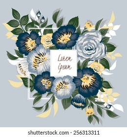 Vector illustration of a beautiful floral frame with white frame. Blue background
