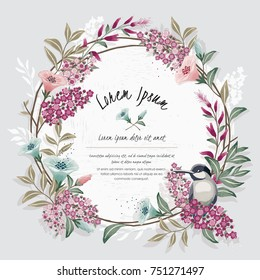 Vector illustration of a beautiful floral wreath with a cute bird on a floral branch in spring for Wedding, anniversary, birthday and party. Design for banner, poster, card, invitation and scrapbook