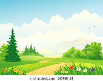 Vector illustration of a beautiful forest