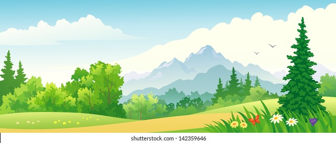 Vector illustration of a beautiful forest at the mountains