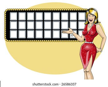 vector illustration of a beautiful game show hostess and a letter board