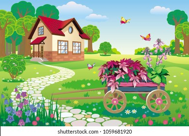 Vector illustration of a beautiful garden with a country house and a decorative garden wheelbarrow with flowers and colorful plants