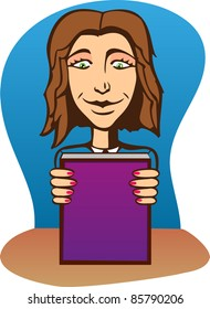 A vector illustration of a beautiful girl with book.  Can be recolored or scaled without problems and quality loss.