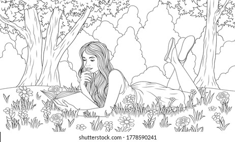 Vector illustration, a beautiful girl reads a book lying in the grass in a meadow, coloring book.