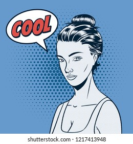 Vector illustration of a beautiful girl with speech bubble.
