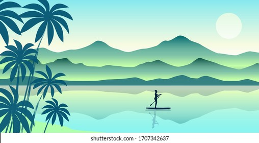 Vector illustration of a beautiful girl standing on a kayak with a paddle in her hand, floating in the ocean past rocks.