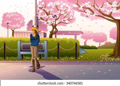 A vector illustration of beautiful girl walking in a park during cherry blossom