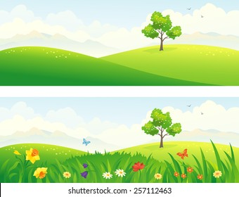 Vector illustration of beautiful green and blooming hills