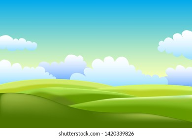 Vector illustration of a beautiful green field