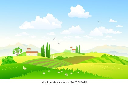 Vector illustration of a beautiful green hilly countryside